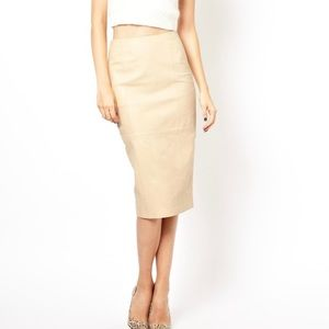 ASOS Real Leather Neutral Nude Midi Pencil Skirt